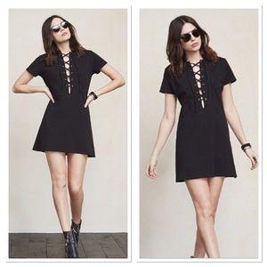 Reformation Black Caroline Lace Up Shirt Dress